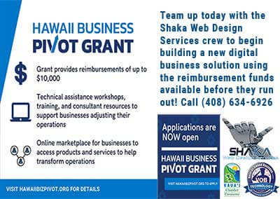 Boost Your Business's Digital Presence With The Hawaii Business Pivot Grant Program & Shaka Web Design Services!